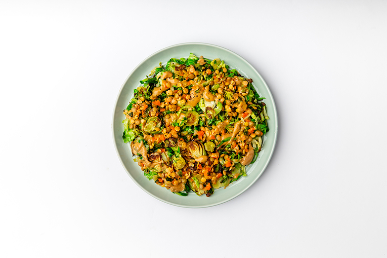 Peanut Lentil Caramelized Brussels - A recipe created using more than one product
