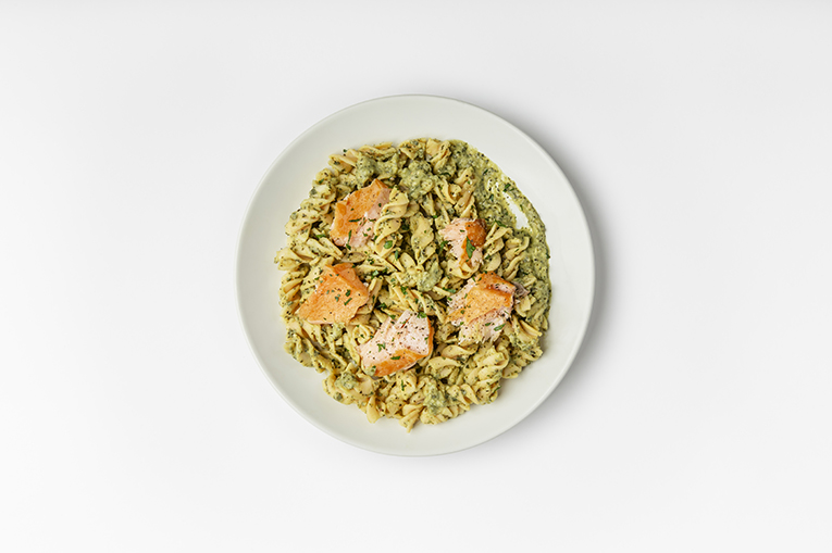 Salmon Pesto Lentil Pasta - A recipe created using more than one product