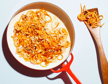 Sweet Potato Noodles with Creamy Cashew Alfredo