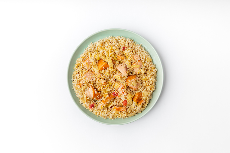 Artichoke Quinoa Salmon Bowl - A recipe created using more than one product