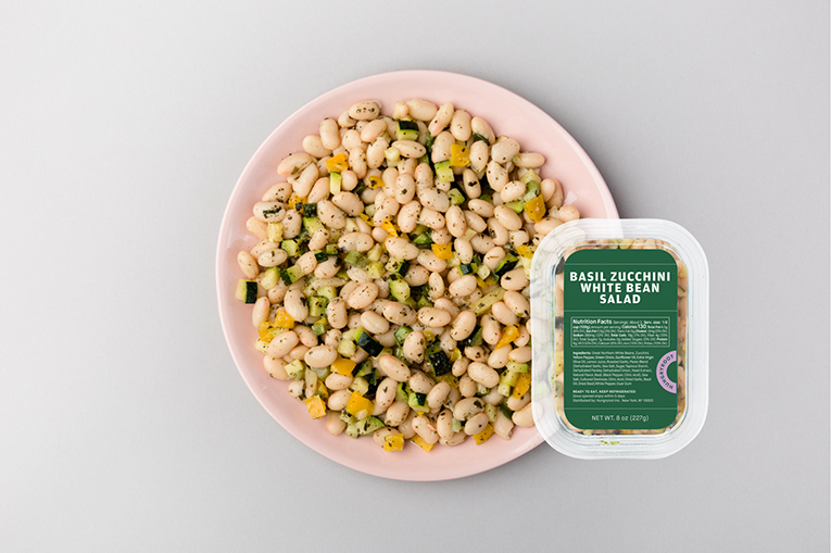 Basil Zucchini White Bean Salad, a product in the Proteins category